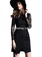 Lace Patchwork Long Sleeve Stand Collar Split Dress US 3299