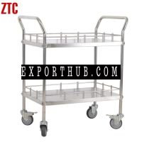 Medical stainless steel treatment trolley double layers hospital surgical instrument cart RCSCH21
