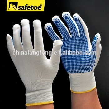 cotton work glove rubber grip dotsPVC dotted glovePVC dotted cotton glove