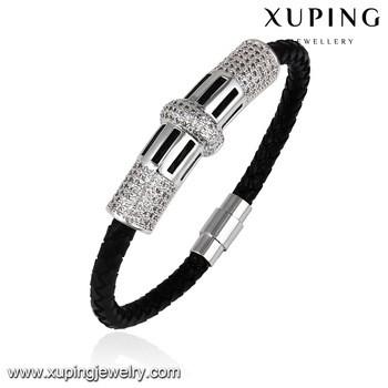 bangle86 Xuping jewelry handmade leather bracelet alloy bracelets black women bangle