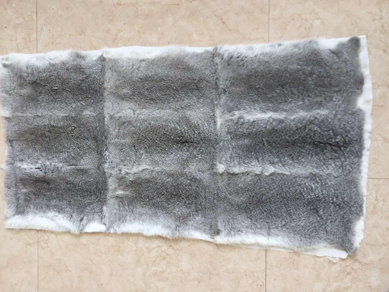 Natural Chinchilla Color Rabbit Fur Plate   RP01-C
