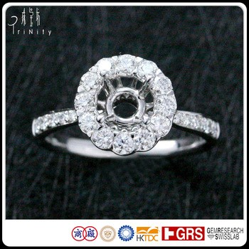 Jewelry Certified 18K White Gold Halo Setting White Round Carat Diamond Engagement Ring Semi Mounting