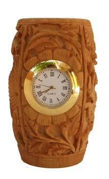 Wooden Handcrafted Round Table Clock Pen Stand