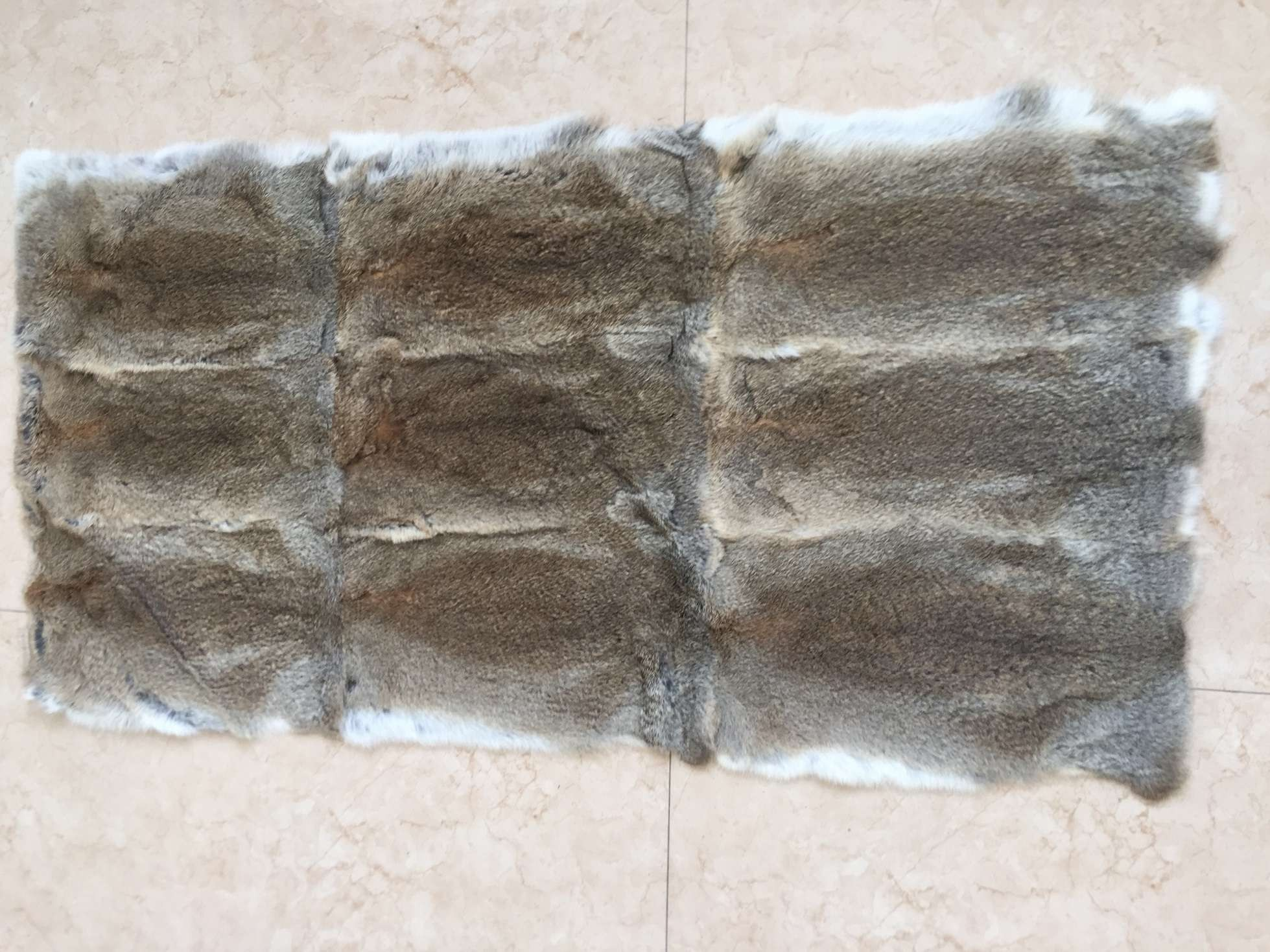 Natural Heather (Brown) Color Rabbit Fur Plate   RP01-H