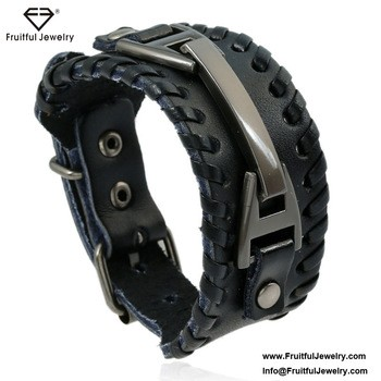 leather accessories vintage alloy woven mens bracelet