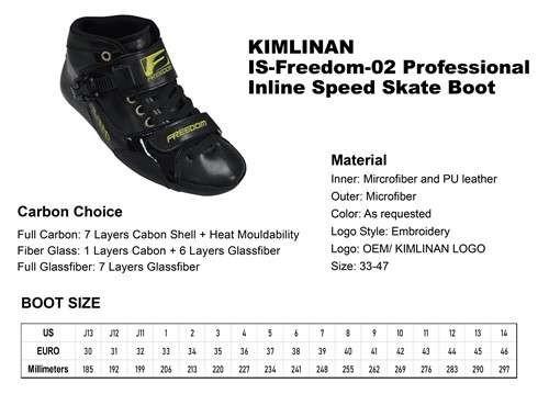 新的专业KIMLINAN IS-Freedom-02专业直排速度滑冰靴
