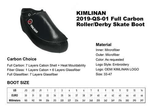 2020高品质KIMLINAN 2019-QS-01全碳滚筒德比冰鞋靴
