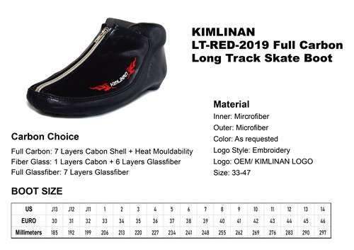 高品质KIMLINAN LT-RED-2019全碳长道滑板靴
