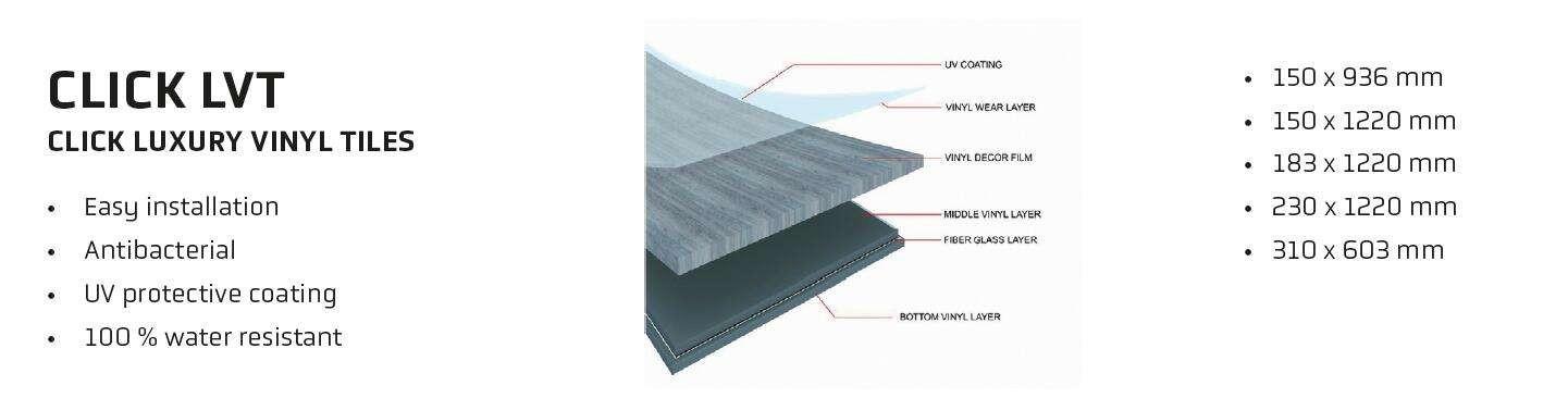 带耐磨层的4.0mm LVT地板0.3mm
