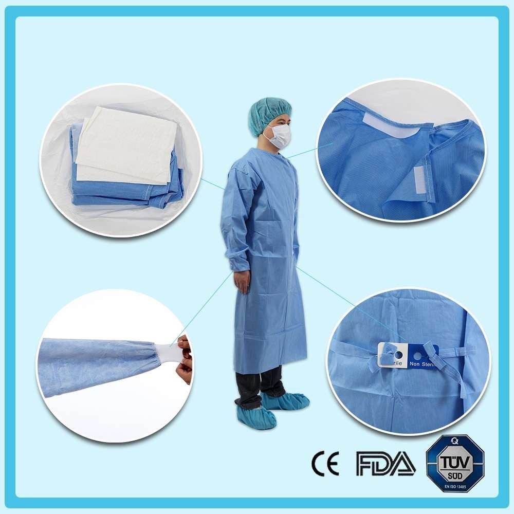Disposable nonwoven standard surgical gown with raglan sleeves