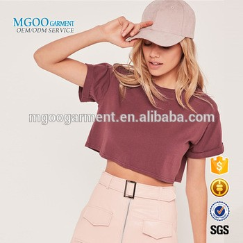 MGOO Garment Young Girl Short Sleeves Off Shoulder Tee Rolled Sleeves Women Crop Tops Pima Cotton Tee Shirts