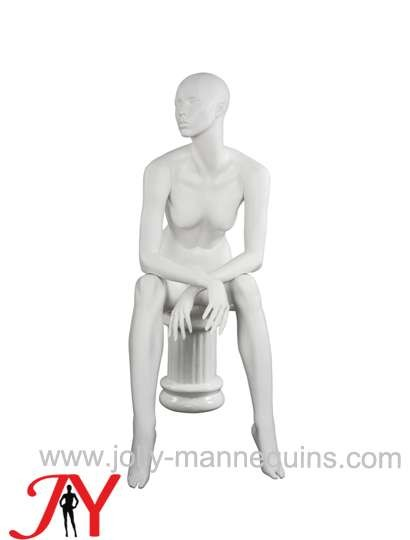 Jolly mannequins-realistic female sitting mannequin with white matte-JY-JANNE