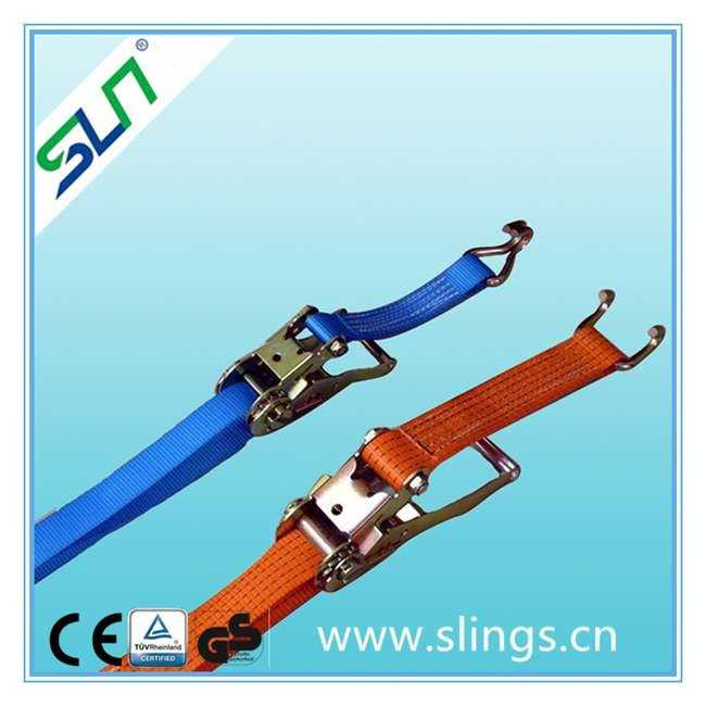 Ratchet tie down cargo with end fittings