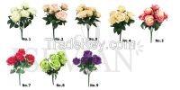 ISEVIAN Artificial 9 Heads Silk Rose Flower