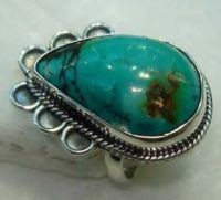 NATURAL PRECIOUS TURQUOISE GEMSTONE 925 STERLING SILVER JEWELRY RING